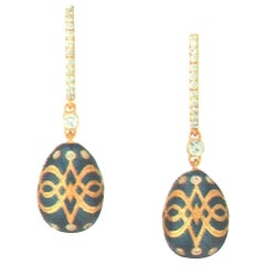 Fabergé Gatchina Heritage Collection Palais Petrol Blue Earrings