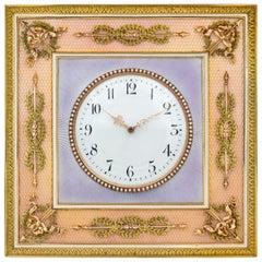 Fabergé Gold-Mounted Guilloche Enamel Desk Clock