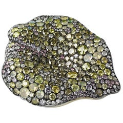 Golden 18K Gold & Silver Diamond Brooch With Opals & Sphenes