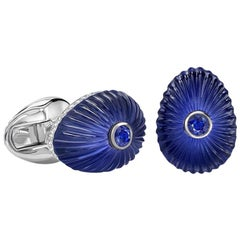 Fabergé Grigori 18K White Gold, Crystal & Blue Sapphire Cufflinks With Diamonds