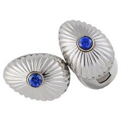 Fabergé Grigori 18K White Gold Blue Sapphire Egg Shaped Cufflinks