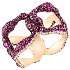 Gypsy 18K Rose Gold Diamond & Ruby Encrusted Wide Ring