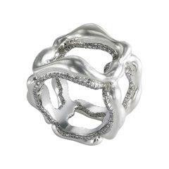 Fabergé Gypsy Platinum & 18K White Gold Wide Diamond Ring