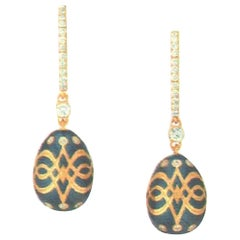 Fabergé Heritage Collection Palais Gatchina Petrol Blue Earrings