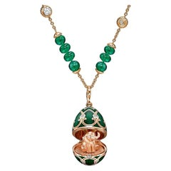 Heritage Rose Gold Emerald & Diamond Transformable Necklace with Elephant