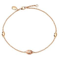 Fabergé Heritage Rose Gold Pink Guilloché Enamel Chain Bracelet 1317BT2389