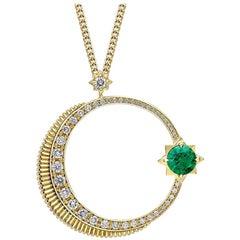 Hilal Yellow Gold Crescent  & Star Emerald and Diamond Pendant
