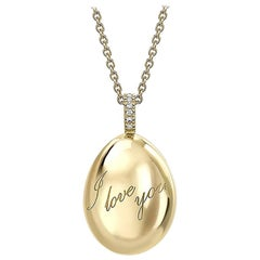 Fabergé Essence Yellow Gold I Love You Egg Pendant