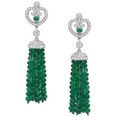 Fabergé Imperial Impératrice White Gold & Emerald Tassel Earrings