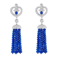 Fabergé Impératrice Tassel Sapphire Round Sapphire and White Diamonds Earrings