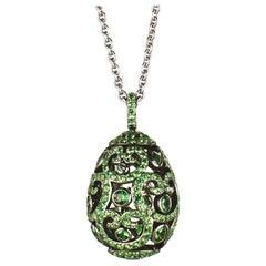 Fabergé Imperial Impératrice White Gold Tsavorite Garnet Egg Pendant