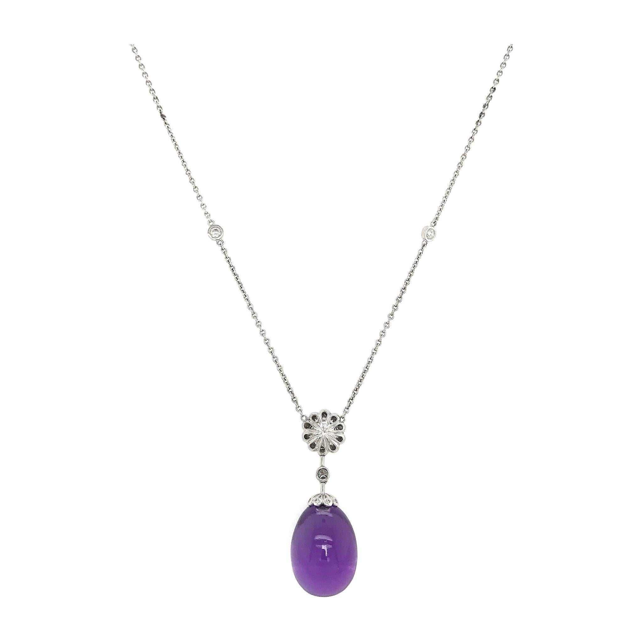 Modern Fabergé Imperial Karenina Diamond and Amethyst Egg Pendant Necklace