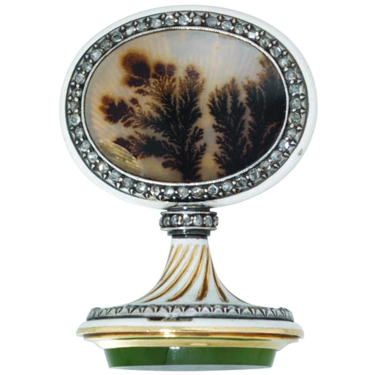 Fabergé Jewelled and Enameled Gold and Hardstone Seal For Sale