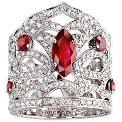 Kokoshnik 18K White Gold Ruby & Diamond Set Wide Crown Ring