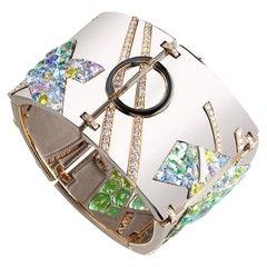 Fabergé Lazlo Gold & Silver Avant-garde Bracelet With Coloured Diamonds