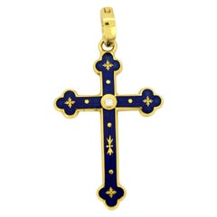 Fabergé Limited Edition 18 Karat Gold Cross Pendant with Enamel and Diamond