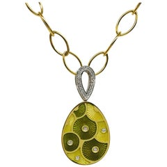 Fabergé Limited-Edition Yellow Gold Green and Yellow Enamel Diamond Pendant