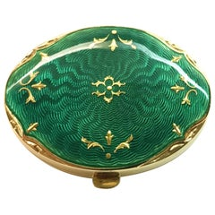 Fabergé Limited-Edition Yellow Gold Green Enamel Pillbox