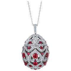 FABERGÉ Limited Round White Diamonds and Round Rubies Zenya Egg Pendant