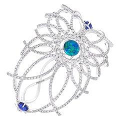 Fabergé Menuet 18K White Gold Diamond Cuff Bracelet With Black Opals