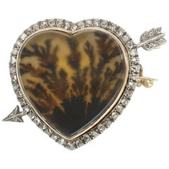 Fabergé Moss Agate and Diamond Brooch, circa 1880