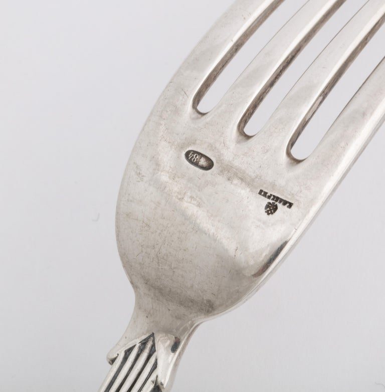 Fabergé Neoclassical Silver Dinner Knife and Fork, Moscow, circa 1900 For Sale 6