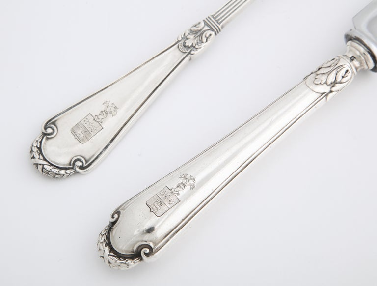 Fabergé Neoclassical Silver Dinner Knife and Fork, Moscow, circa 1900 For Sale 10
