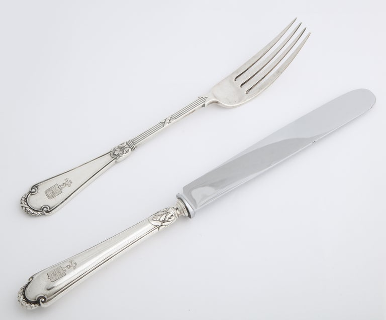 Fabergé Neoclassical Silver Dinner Knife and Fork, Moscow, circa 1900 For Sale 11