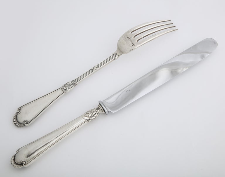 Fabergé Neoclassical Silver Dinner Knife and Fork, Moscow, circa 1900 For Sale 12
