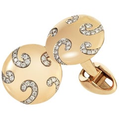 Nicolai 18K Rose Gold Round Diamond Cufflinks