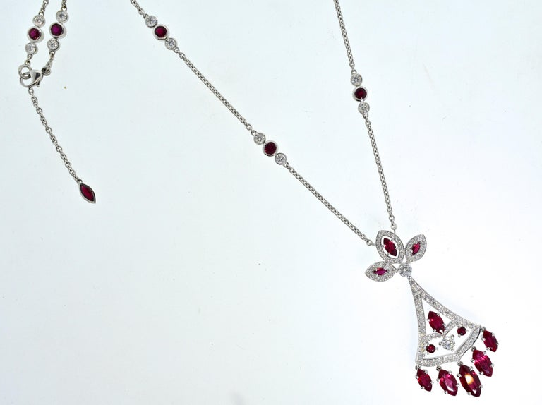 Faberge NY, Ruby and Diamond Pendant Necklace For Sale 5