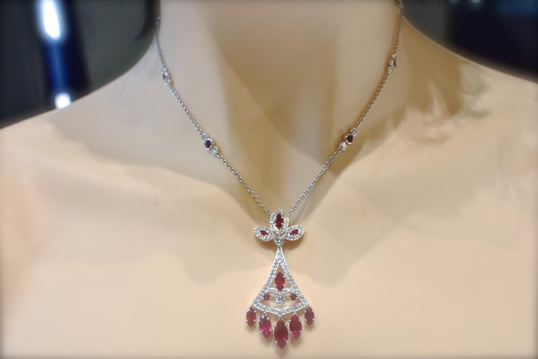 Faberge NY, Ruby and Diamond Pendant Necklace For Sale 8