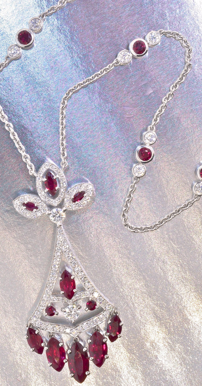 Belle Époque Faberge NY, Ruby and Diamond Pendant Necklace For Sale