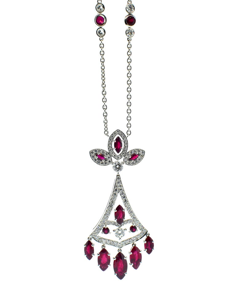 Faberge NY, Ruby and Diamond Pendant Necklace For Sale 1