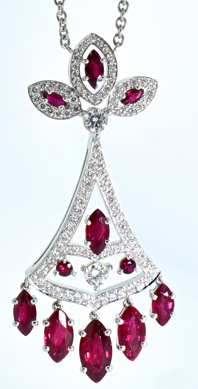 Faberge NY, Ruby and Diamond Pendant Necklace For Sale 2
