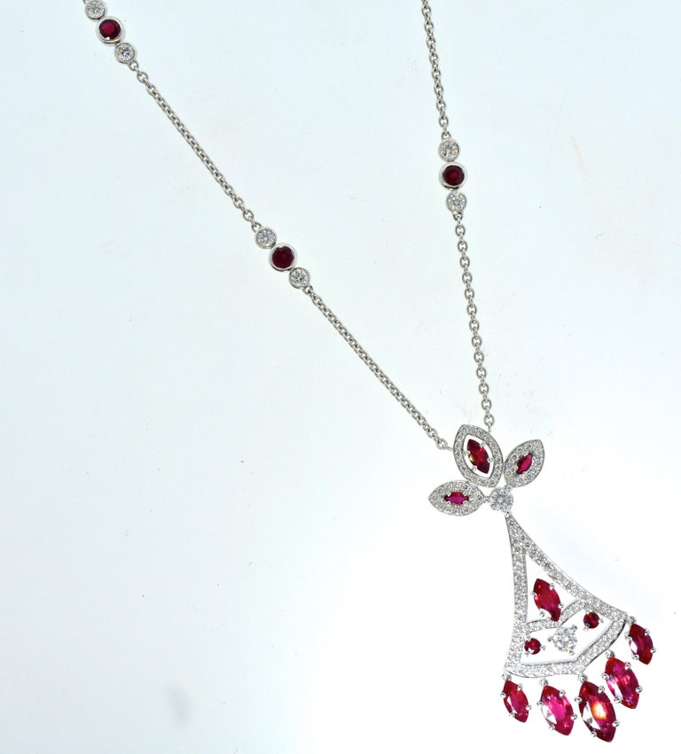 Faberge NY, Ruby and Diamond Pendant Necklace For Sale 3
