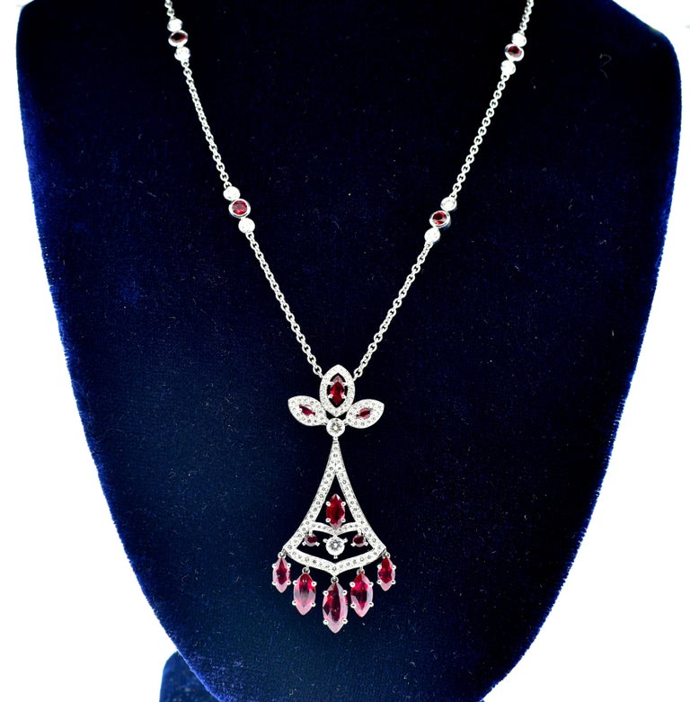 Faberge NY, Ruby and Diamond Pendant Necklace For Sale 4