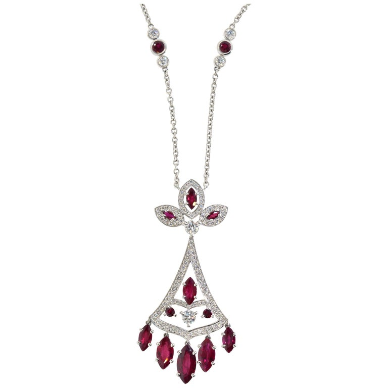 Faberge NY, Ruby and Diamond Pendant Necklace For Sale