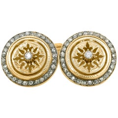Fabergé, Pair of 14 Karat Yellow Gold Cufflinks with Diamond