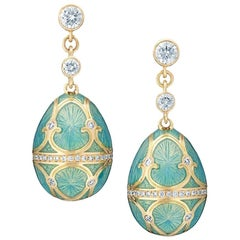 Palais 18K Yellow Gold Diamond Drop Earrings With Turquoise Guilloché Enamel