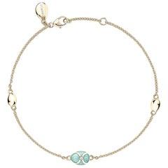 Palais 18K Yellow Gold Chain Bracelet With Turquoise Enamel