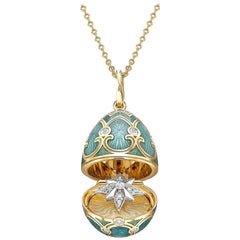 Palais Tsarskoye Selo Yellow Gold Locket with Teal Enamel and En Tremblant Diamo
