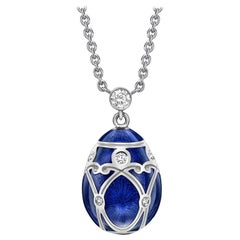 Fabergé Palais Yelagin White Gold and Royal Blue Enamel Small Pendant