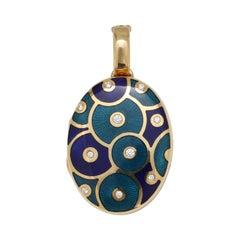 Fabergé Paraplui 18k Gold Enamel Locket, Enamel, Diamonds 0,120 Ct