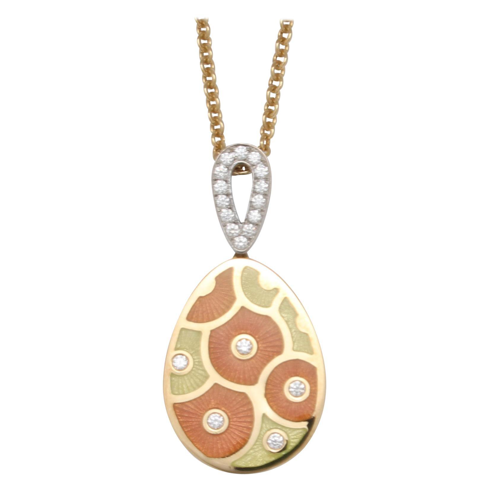 Fabergé Paraplui 18k Gold Enamel Necklace - Enamel, Diamonds 0,215 Ct