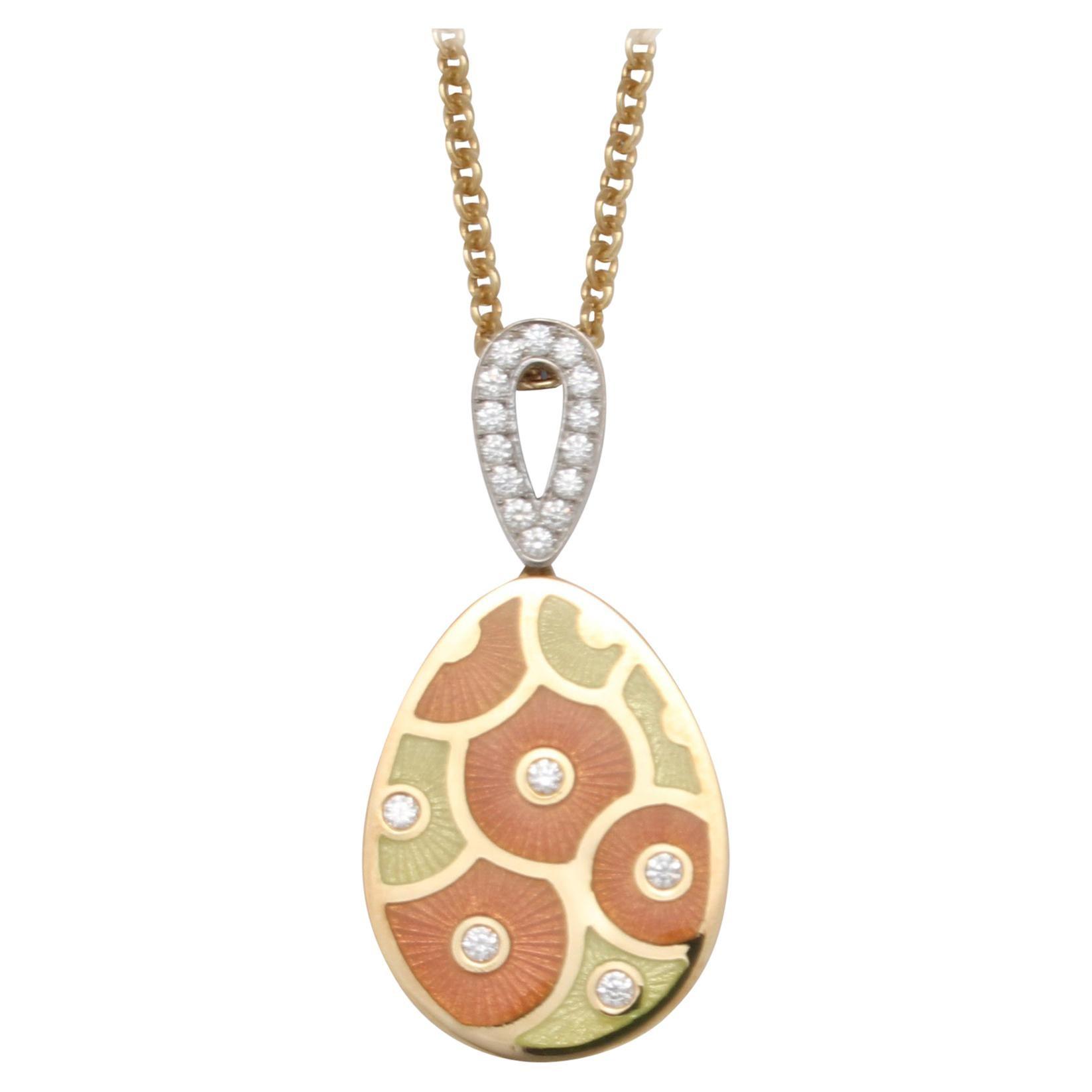 Fabergé Paraplui 18k Gold Enamel Necklace, Enamel, Diamonds 0,215 Ct
