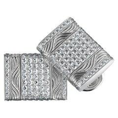 Pavel 18K White Gold Rectangular Diamond Cufflinks