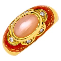 Faberge Pink Moonstone Ring with Diamond in 18 Karat Yellow Gold