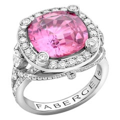 Fabergé Pink Sapphire Cushion Cut Ring