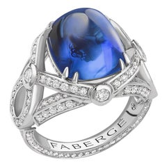 Platinum 11.21ct Royal Blue Sugarloaf Sapphire Ring Set With Round White Diamond